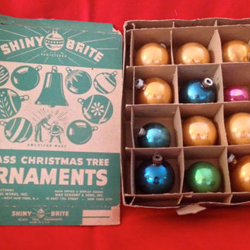 Box of Twelve Vintage Shiny Brite Glass Christmas Ornaments