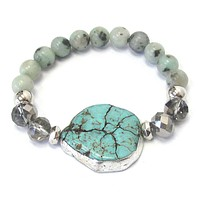 Unique Silver and Turquoise Stone Stretch Bracelet