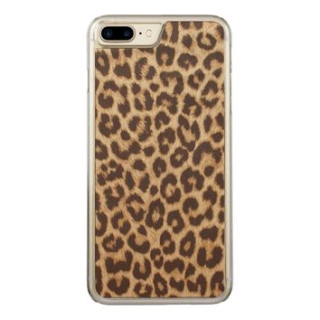 Leopard Print Carved iPhone 7 Plus Case