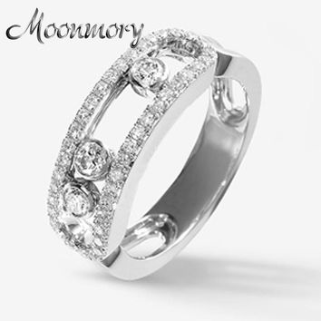 Moonmory S925 Sterling Silver Ring With Movable Stone and Clear Zircon French Style Silver Ring For Women Jewelry Accessory