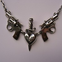 Sterling Silver Heart Dagger and Guns with by MetalCoutureJewelry