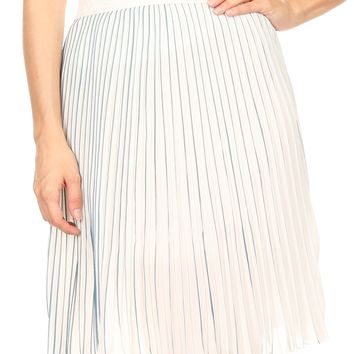 Sakkas Amira Accordion Pleated Midi Crepe Slim Skirt with Elastic Waist