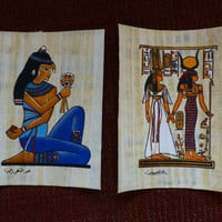 Egyptian Papyrus Hand-Painted Unframed Wall Art - Authentic - Cairo, Egypt - 1990's