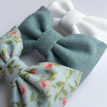 White denim, light blue floral, and textured teal hair bow set from Seaside Sparrow. These hair bows make a perfect gift for her.