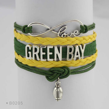 Infinity Love Football Bracelet - Green Bay Football
