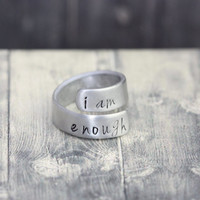 Hand crafted stamped wrap ring, custom engraved ring, wrap ring, personalized ring