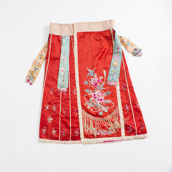 Antique Chinese Skirt - Silk Red Embroidered Fringe Beaded Wedding Wrap Asian Vintage 1920s