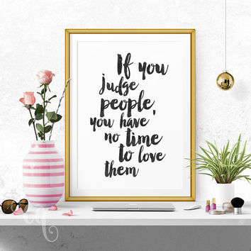 Wall art decor Mother Teresa quote, minimalistic typography giclée print