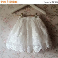 Girls Tutu Skirt, Mini Lace Tutu Skirt, Girl Tutus, White Tulle Skirt , White Lace Tutus , Flower Girls Tulle Skirt , Lace Tulle Skirt(C788)