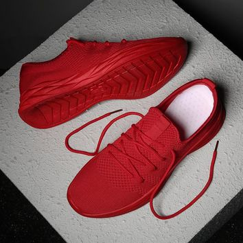Super Breathable Mesh Men Sneakers Spring Summer New Men's Sports Shoes Black red Running Shoe Male Training Gym Shoes Footwear