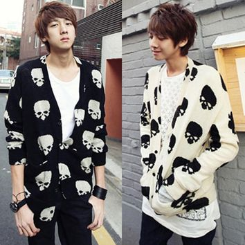 Free shIpping knitted casual cardigan fashion skull print long design cardigan male