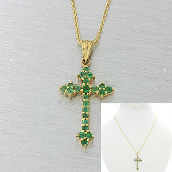 Vintage Estate 14k Solid Yellow Gold .45ctw Emerald Cross Pendant Necklace
