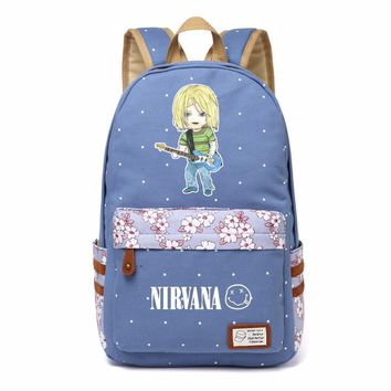 Nirvana Kurt Donald Cobain Rock band Canvas bag Flower wave point Rucksacks backpack Girls women School Bag travel Shoulder Bag