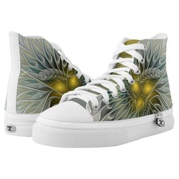 Golden Flower Fantasy, abstract Fractal Art Printed Shoes