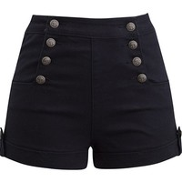 "WOMEN'S ""SAILOR GIRL"" HIGH WAIST SHORTS BY DOUBLE TROUBLE APPAREL (BLACK)"