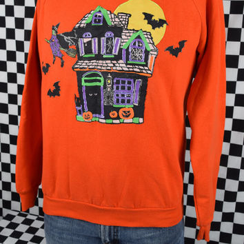 Vintage 80s Halloween Crewneck / XL Halloween Sweatshirt / Orange / Spooky / Haunted House / Witch / Made in USA / Cotton Polyester Blend