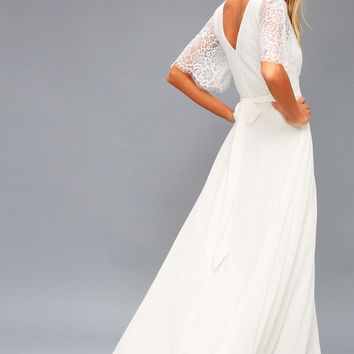 Daphne White Lace Maxi Dress