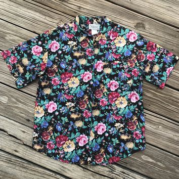 TOLERANCE VINTAGE 80's Women's Floral Button Down Shirt Blouse