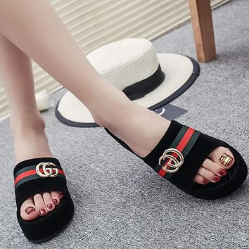 GUCCI Women Fashion Platform Slipper Flats Shoes