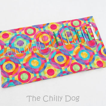 Roll Up Crochet Hook Case: Bright Geometric Circles
