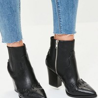 Missguided - Black Snake Toe Western Ankle Boots
