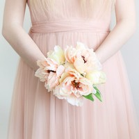 "Peony Silk Wedding Bouquet in Peach - 10"" Tall"