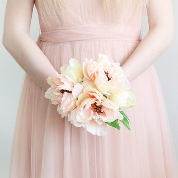 Fake Peony Wedding Bouquet in Peach