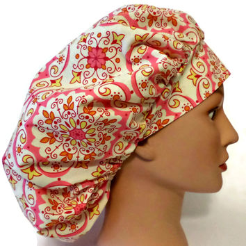 Women's Bouffant, Pixie, or Ponytail Surgical Scrub Hat Cap in Moroccan Pink