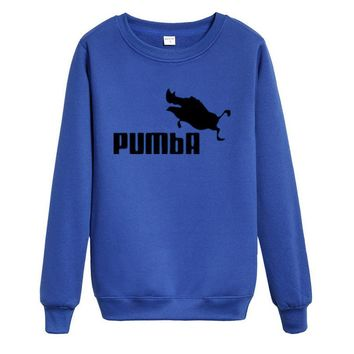 PUMBA Fashion Hip-hop personality trend hip hop into round collar Sweater White-1