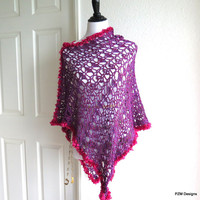 Lacy asymmetrical poncho, purple crochet poncho, light weight outerwear