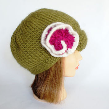 Irish knitted Olive green Newsboy hat with Raspberry flower with cream trim soft wool handknit gift for her knit hats with brim