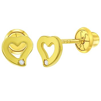14k Yellow Gold White Diamond Small Heart Screw Back Earrings for Baby Girls