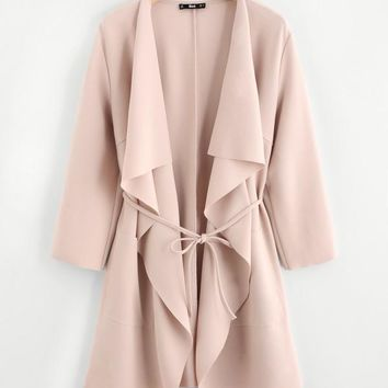 Waterfall Collar Pocket Front Wrap Coat APRICOT