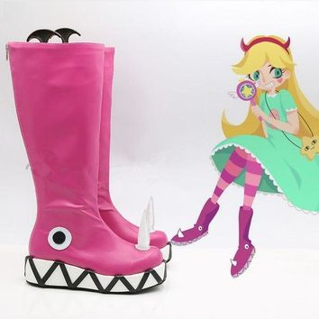 ONETOW Star vs.the Forces of Evil Princess Star Butterfly Magic Cosplay Shoes Boots Halloween