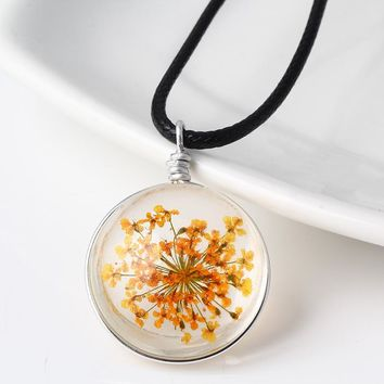 Womens Real Dried Flowers Floral Glass Pendant Necklaces