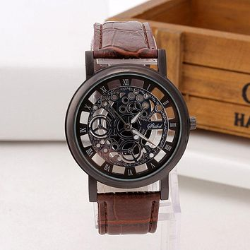 Skeleton Watch Men Engraving Hollow  Dress Quartz Wristwatch Leather Band