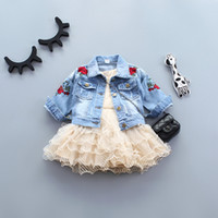 Spring Denim Ripped Jeans Jacket for Baby Girls