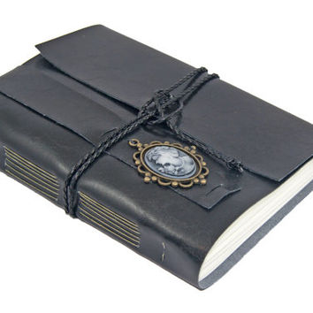 Large Black Faux Leather, Wrap Journal, Travel Journal, Lined Paper, Cameo, Bookmark, Ready to Ship