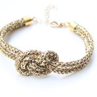 Gold thin cord Knot Bracelet - 24k gold plated