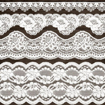 White Lace Border Clip Art. Wedding Lace Clipart. Shabby, Rustic Lace Overlays. Bridal Shower, Wedding Clipart. Vintage White Seamless Lace.