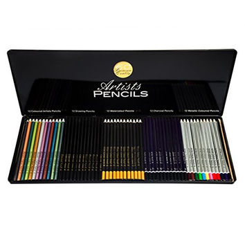 Art Pencils Set - Includes 60 Premium Art Pencils - Rich Pigmentation and Easy to Work With - Includes Artist, Watercolor, Drawing, Charcoal and Metallic Colored Pencils