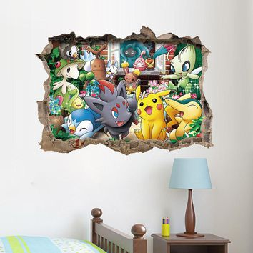 Cartoon Game Pikachu Pokemon Go Wall Stickers For Kids Rooms Children's Gift Wall Decals Poster Nursery Room Decoration Mural