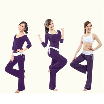 Women's fashion Women's fashion Modal cotton yoga suit hang neck three-piece suit solid color slim yoga workout clothes suit solid color slim yoga workout clothes = 1933121668