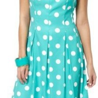 Amazon.com: AGB Sleeveless Polka Dot Pleated Pocket Dress GREEN/WHITE 16: Clothing
