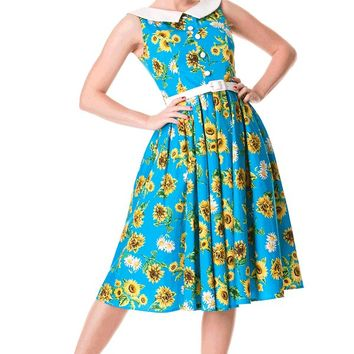 Hell Bunny – Sunrise 50′s Swing Dress In Turquoise/Multi | Thirteen Vintage