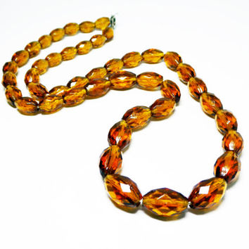 """Art Deco Golden Topaz Tone Necklace - Faceted Glass Beaded 22"""" Matinee Length - Oval Crystal Glass Beads -  Sterling Silver Clasp - Vintage"""