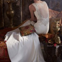 Satin Gown with Beaded Waist and Illusion Back - David's Bridal