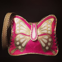 Pink & Gold Leather Butterfly Crossbody Bag