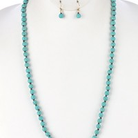 Turquoise Natural Stone Long Bead Necklace And Earring Set
