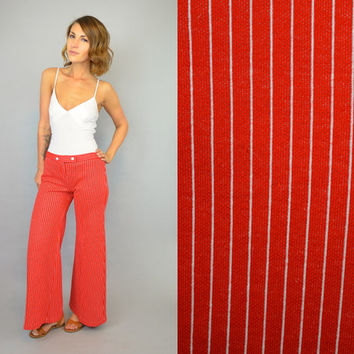 PINSTRIPE vtg 70s 'Bobbie Brooks' hip hugger flared americana boho hippie BELL BOTTOMS pants trousers, extra small-small